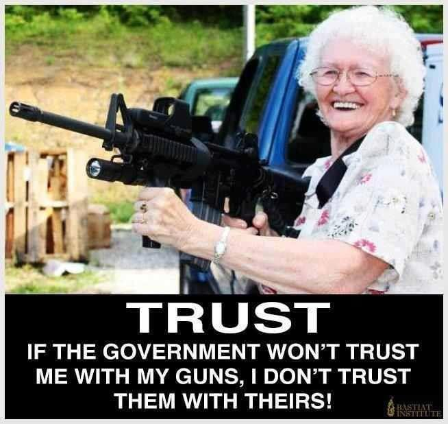 If the government don't trust me with guns I don't trust them with theirs