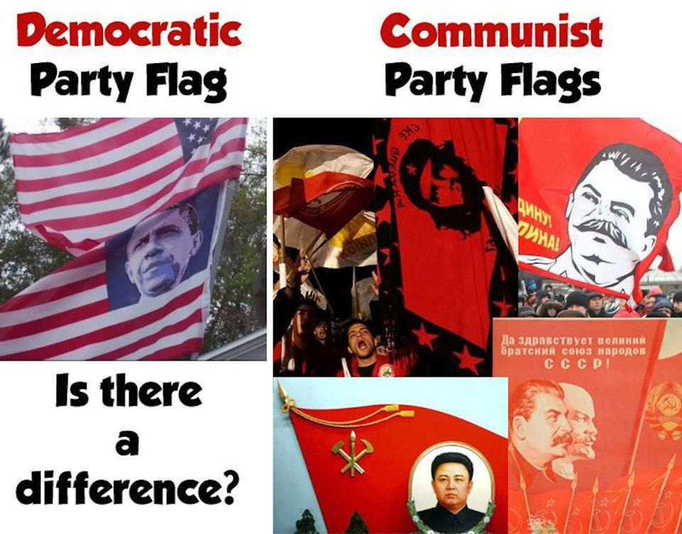Democrat party flag vs communist party flags