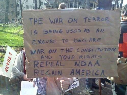 The war on terror is being used as an excuse to declare war on the constitution and your rights