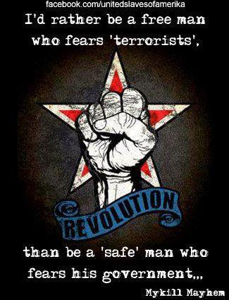 I'd rather be a free man who fears terrorists than a safe man who fears his government