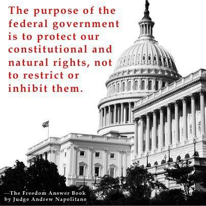 the purpose of the federal government is to protect our constitutional rights, not restict them
