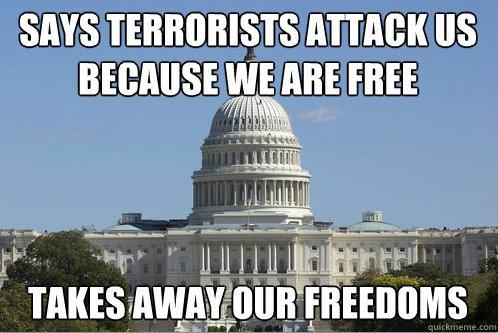 says terrorists attack us because we are free