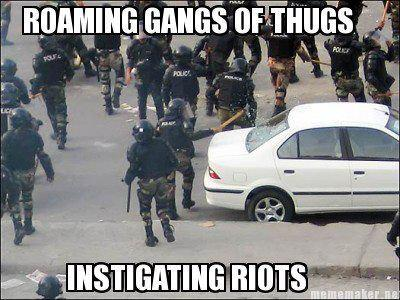roaming gangs of thugs instigating riots