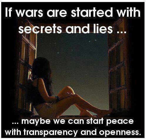 if wars are started with secrets and lies maybe we can start peace with transparency and openness