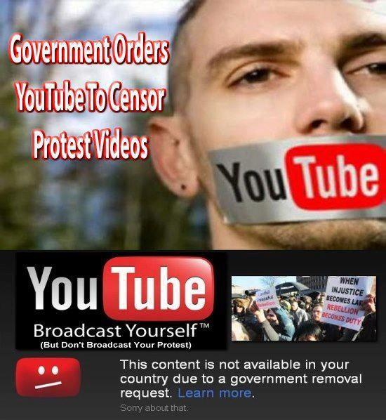 Government orders youtube to censor protest videos