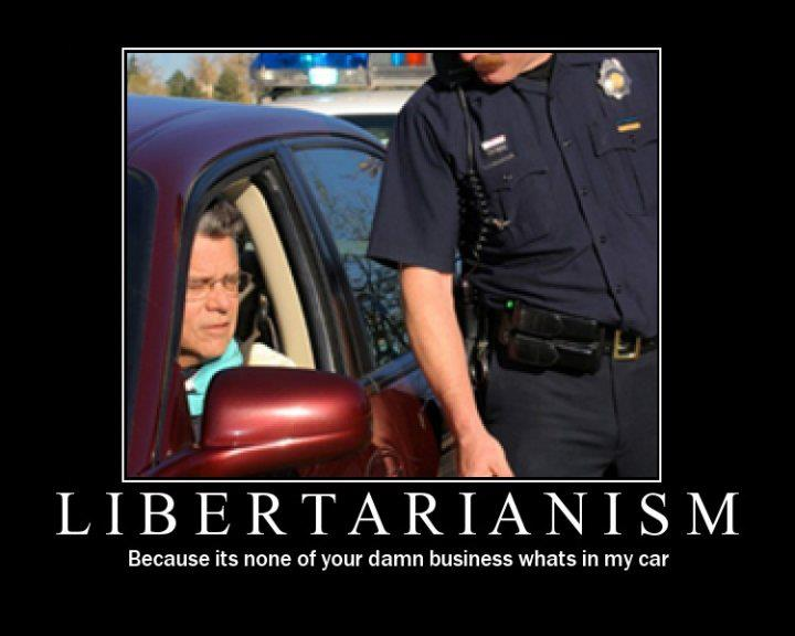 Libertarianism Because it's none of your damn business what's in my car