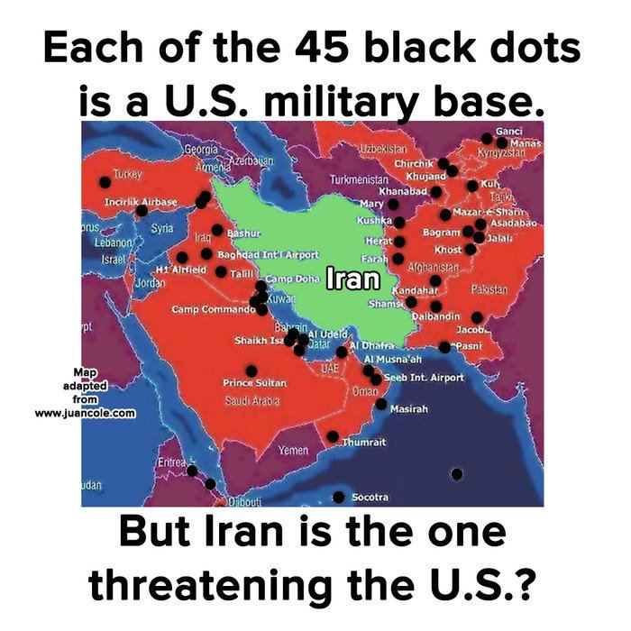 Each of the 45 black dots is a U.S. military base