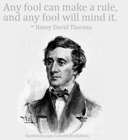 Henry david thoreau Any fool can make a rule and any fool will mind it