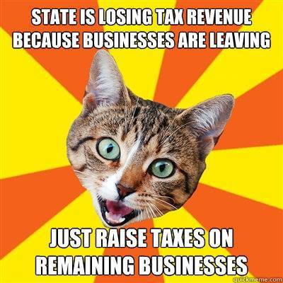 state is losing tax revenue because businesses are leaving