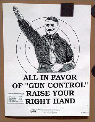 all in favor of gun control raise your right hand