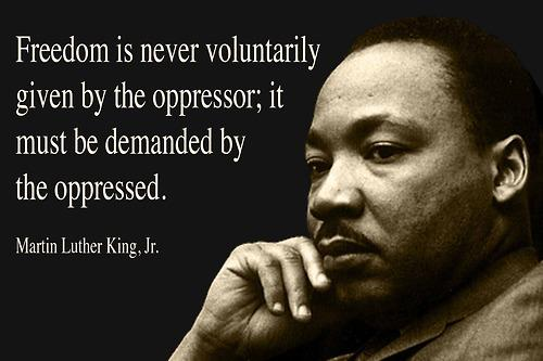 Marthin Luther King jr Freedom is never voluntarily given by the oppressor