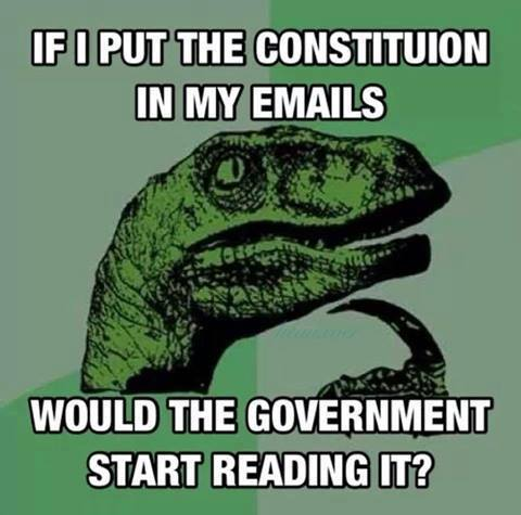 If I put the constitution in my emails would the government start reading it?