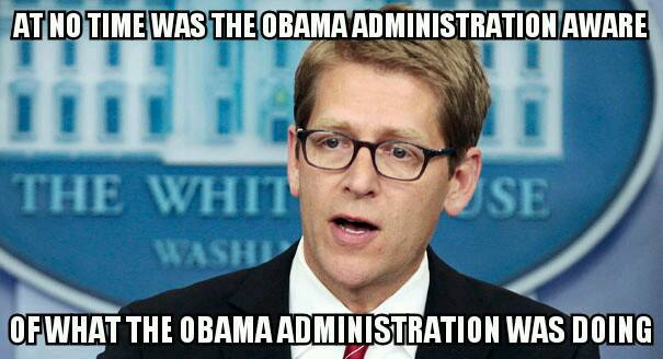at no time was the obama administration aware of what the obama administration was doing