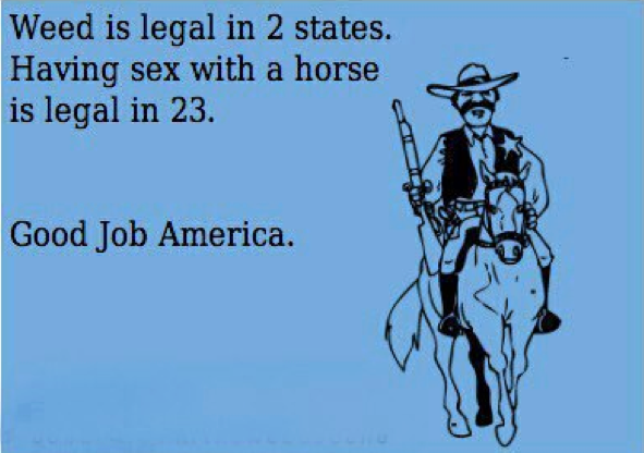 Weed is legal in 2 states. Having sex with a horse is legal in 23