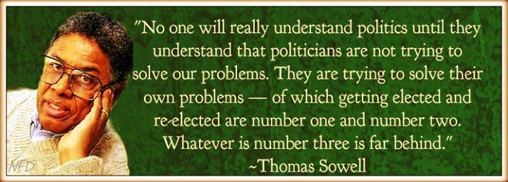 Thomas Sowell No one will really understand politics until they understand politicians are not trying to solve our problems