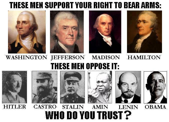 These men support your right to bear arms.  These men oppose it